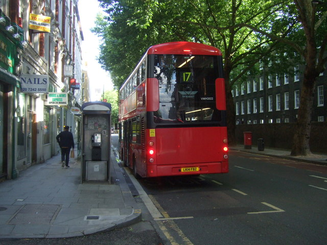 Bus stop and telephone box on Gray's Inn Road, London