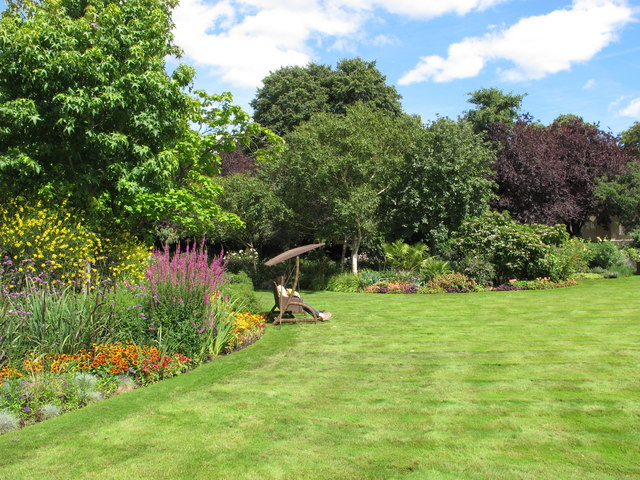 The Holme, lawn and herbaceous borders