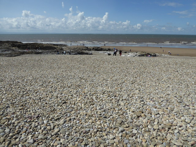Storm beach of pebbles at Ogmore-by-Sea looking across to North Devon