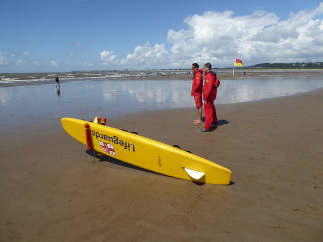 RNLI Lifeguards on the beach at Ogmore-by-Sea