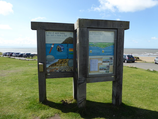 Information boards at Ogmore-by-Sea