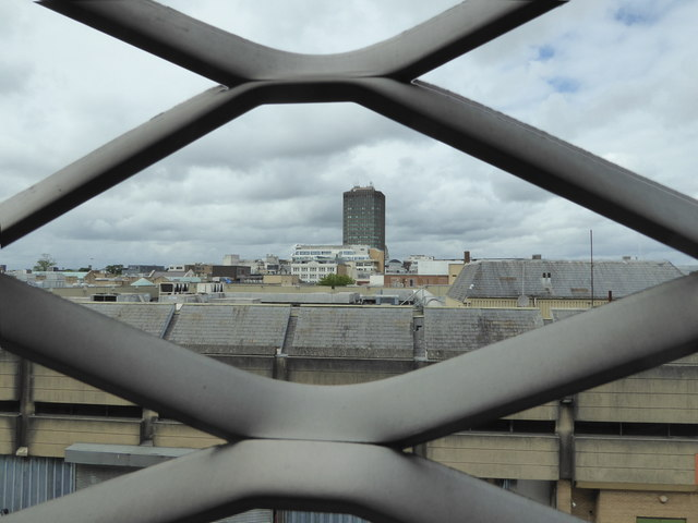 View to Capital Tower, Cardiff from the St. David's multi-storey car park P3 Level