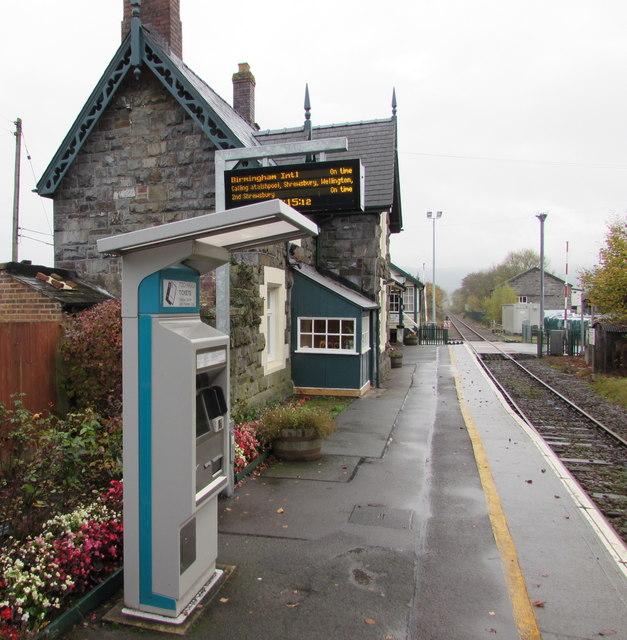 Ticket machine on Caersws railway station