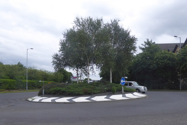 Roundabout at the end of the offslip at junction 28 of M8