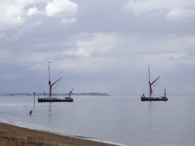 Sailing-barges head into Whitstable Harbour