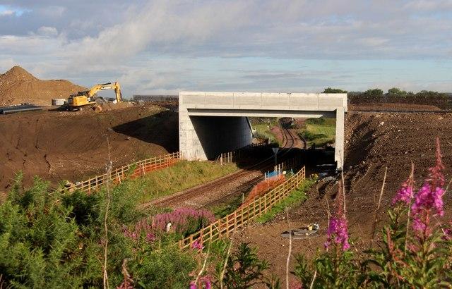 New bridge over the Aberdeen-Inverness rail line