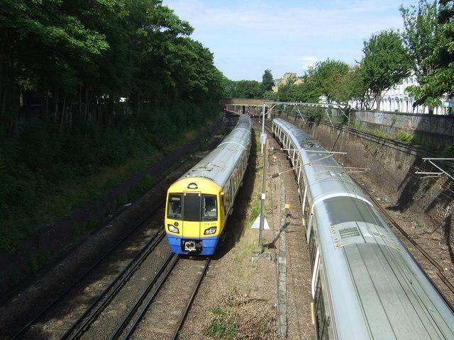 Railway looking west from the bridge on Mildmay Park, London N1