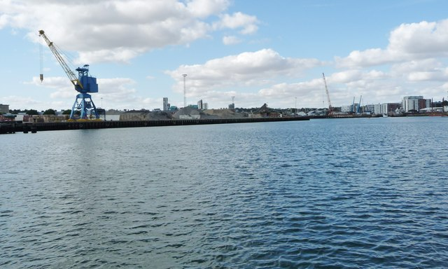 Aggregates stored on the quayside, Ipswich