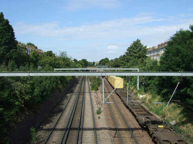 Railway looking west from the bridge on King Henry's Walk, London N1
