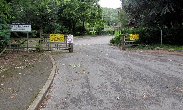 Entrance to Llantilio Pertholey Primary School, Mardy
