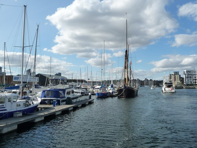 Boats moored at South West Quay, Ipswich