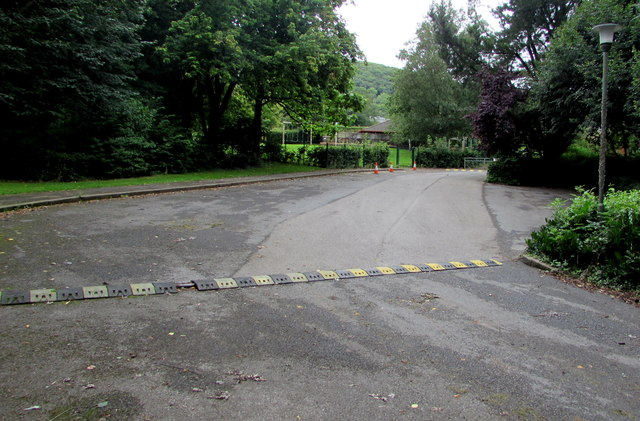 Speed bump across the entrance road to Llantilio Pertholey Primary School, Mardy