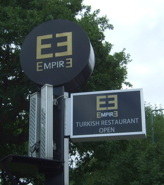 Sign for the Empir 3 Turkish Restaurant