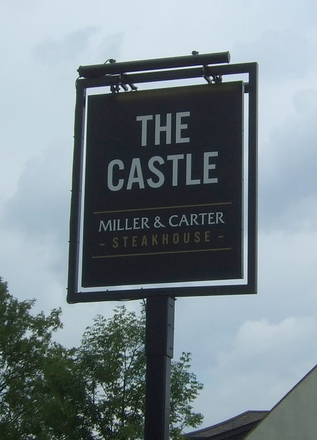 Sign for the Castle public house, Woodford