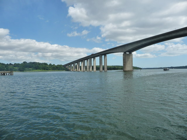 The eastern end of Orwell Bridge, from the north