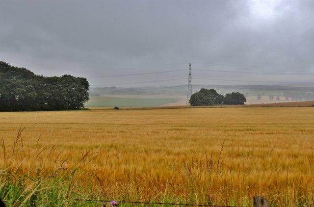 Breaking cloud over crops at Kirkton