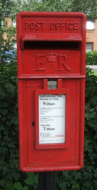 Close up, Elizabeth II postbox on High Road, Bell Common