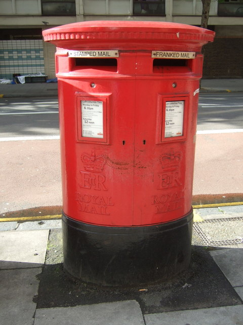 Double aperture Elizabeth II postbox on Old Street, London EC1