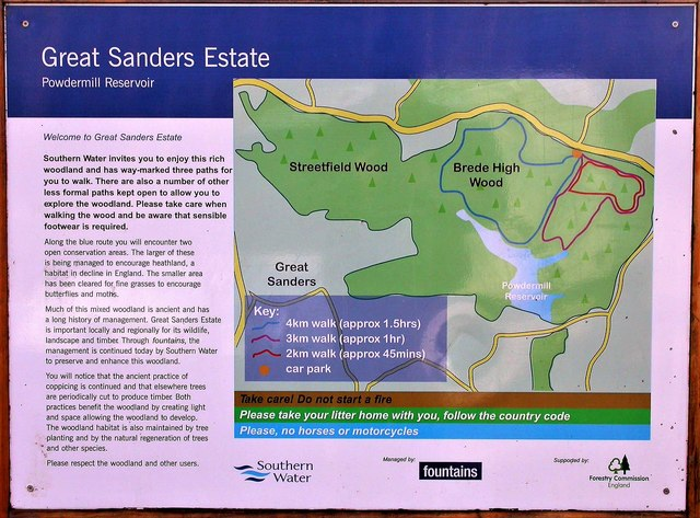 Old sign in Brede High Woods for Great Sanders Estate