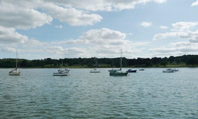 Moored boats, Freston Reach, River Orwell