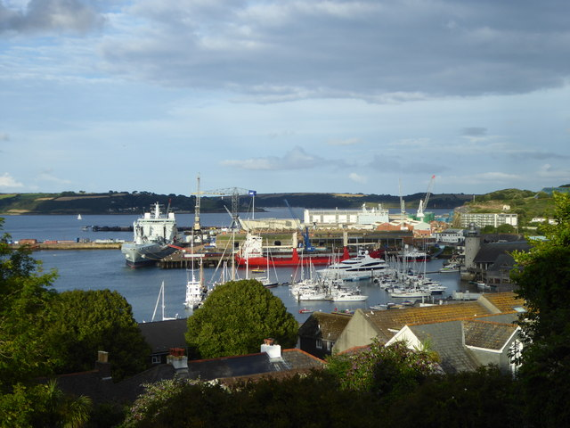 Falmouth Docks and harbour viewed from Wodehouse Terrace