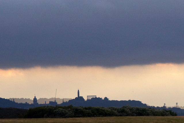 Calton Hill, Edinburgh, from Morrison's Haven, Prestonpans