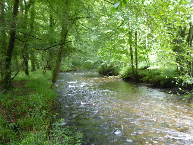 The River Camel running between Great Shell Wood and Heligan Wood