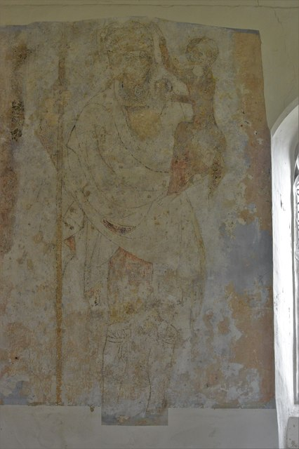 Seething, St. Margaret and St. Remigius Church: Medieval St. Christopher wall painting 1