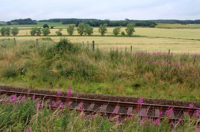 The railway north out of Aberdeen near Kintore