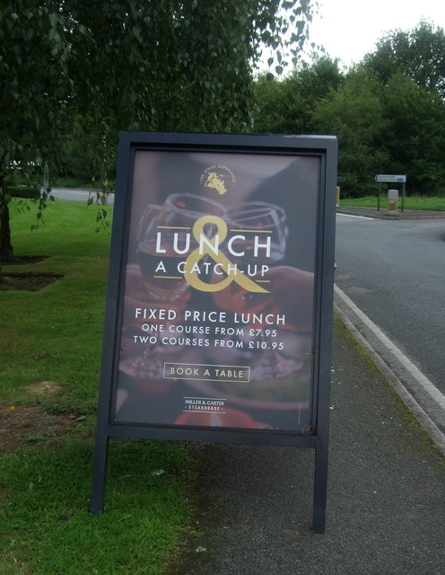 Sign outside Miller & Carter Steakhouse, Wake Arms Roundabout