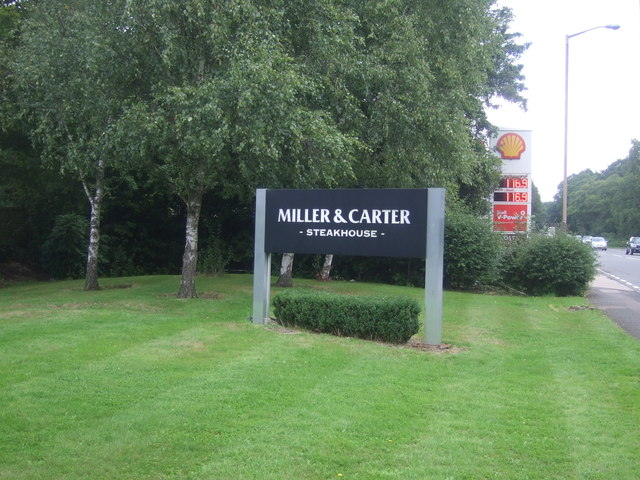 Sign for the Miller & Carter Steakhouse, Wake Arms Roundabout