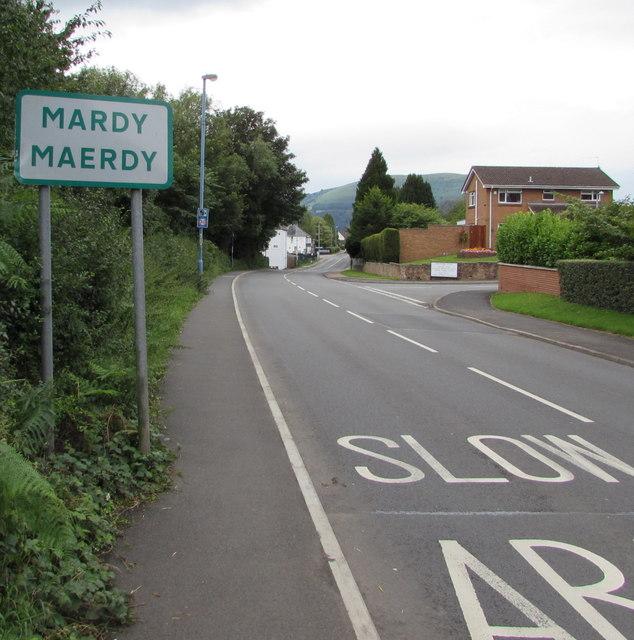 Northeast boundary sign, Mardy