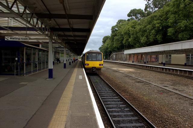 Barnstaple station. Train from Exeter arriving.