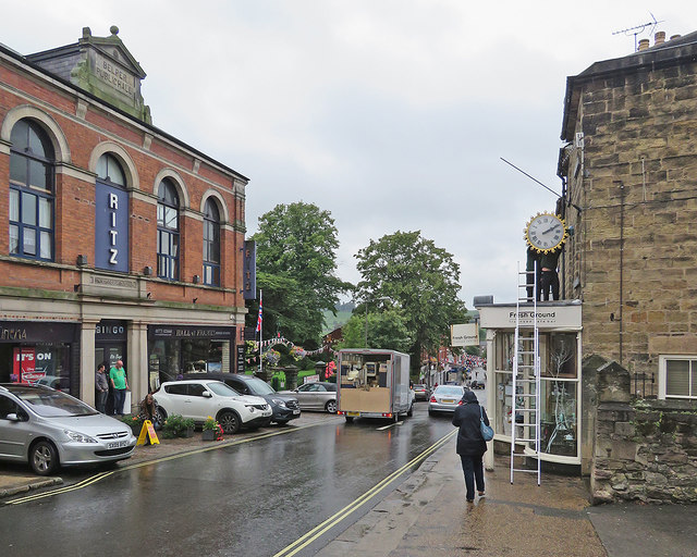 Belper: clock repairs on a wet afternoon