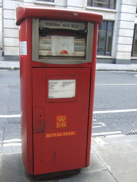 Royal mail business box on Moorgate, London EC2