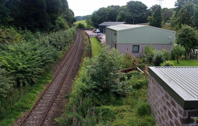 Railway towards Aberdeen at old Kinaldie Station