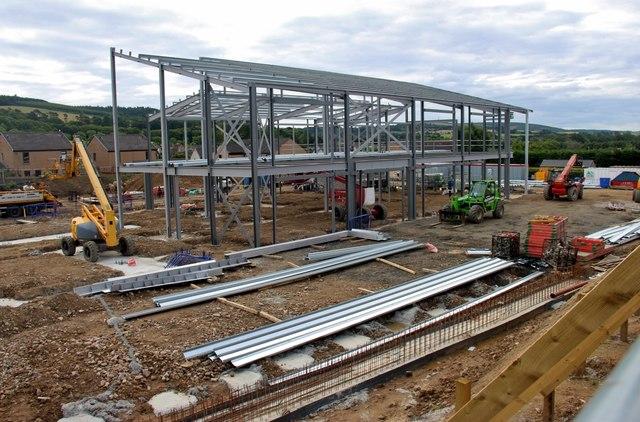 Steel frame erection at Blackburn