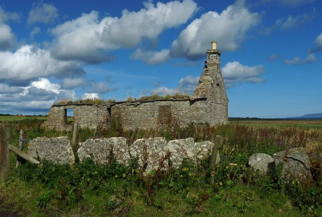 Ruined crofthouse and Caithness flagstone wall, Syster, Caithness
