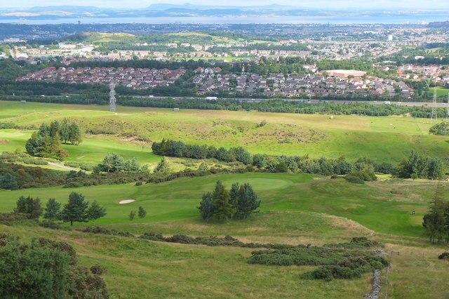 Swanston golf course and suburban Edinburgh
