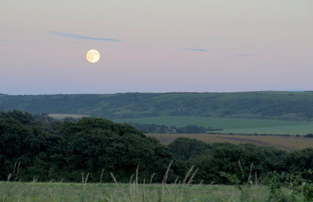 Moon over Afton Down, Isle of Wight