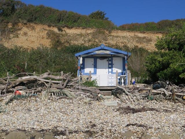 Beach cabin and driftwood, Forelands, Bembridge