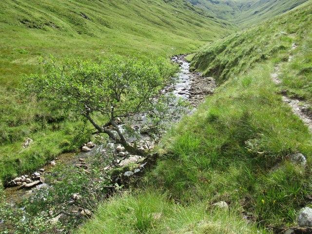 On the west bank of Allt Coire Laoigh near Tyndrum
