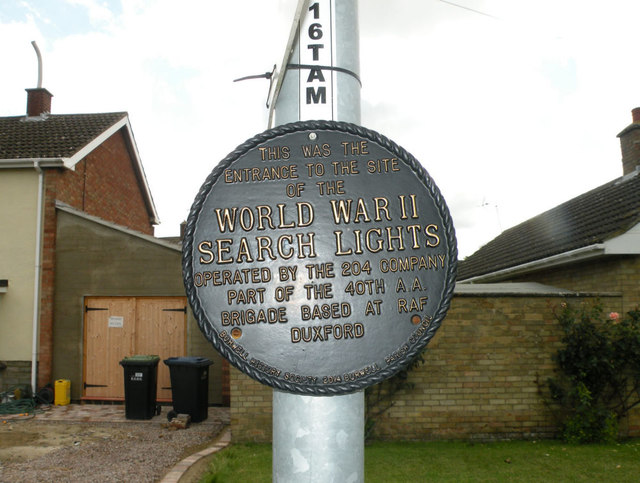 Memorial Plaque to Search Lights