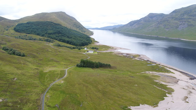 Aerial photo of Corryvarkie Lodge and Loch Ericht
