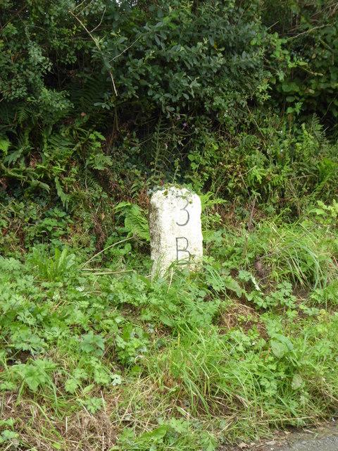 Detail of a primitive milestone near Lower Kernick
