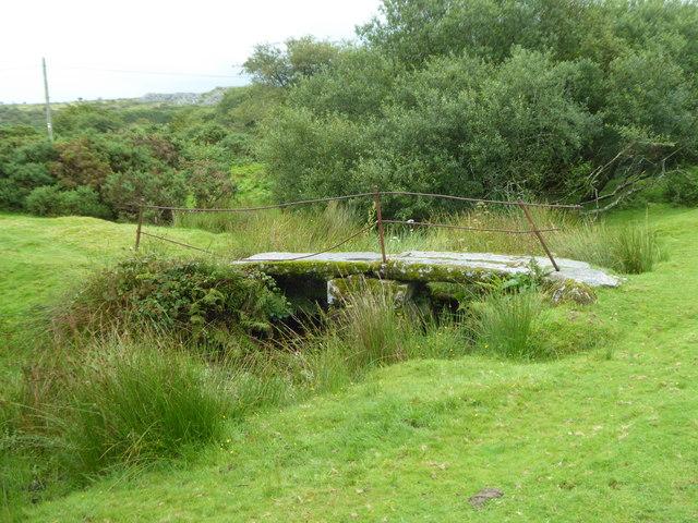 Old stone clapper bridge at Bradford