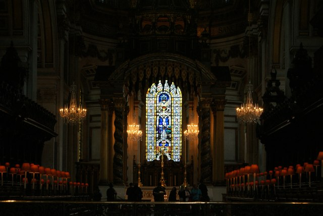 View of a stained glass window at the end of the choir of St. Paul's Cathedral
