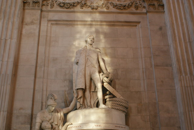 View of the Horatio Nelson memorial sculpture basking in the sunlight in St. Paul's Cathedral