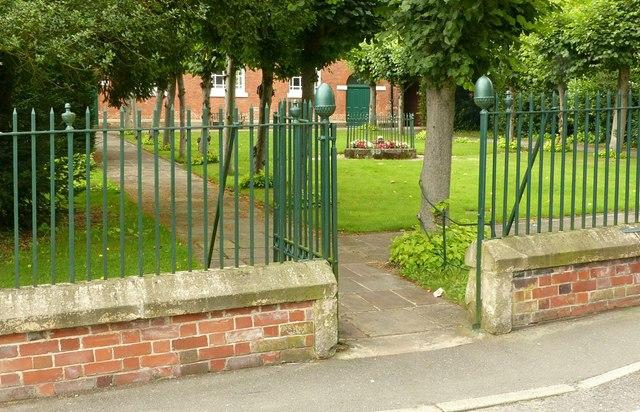 Gateway and railings, The Moravian Church, Ockbrook
