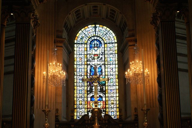 View of a stained glass window and crucifix in St. Paul's Cathedral #2